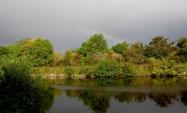 A rainbow appears whilst walking along by the Caledonian Canal
