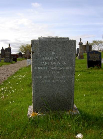 Jane Duncan's gravestone